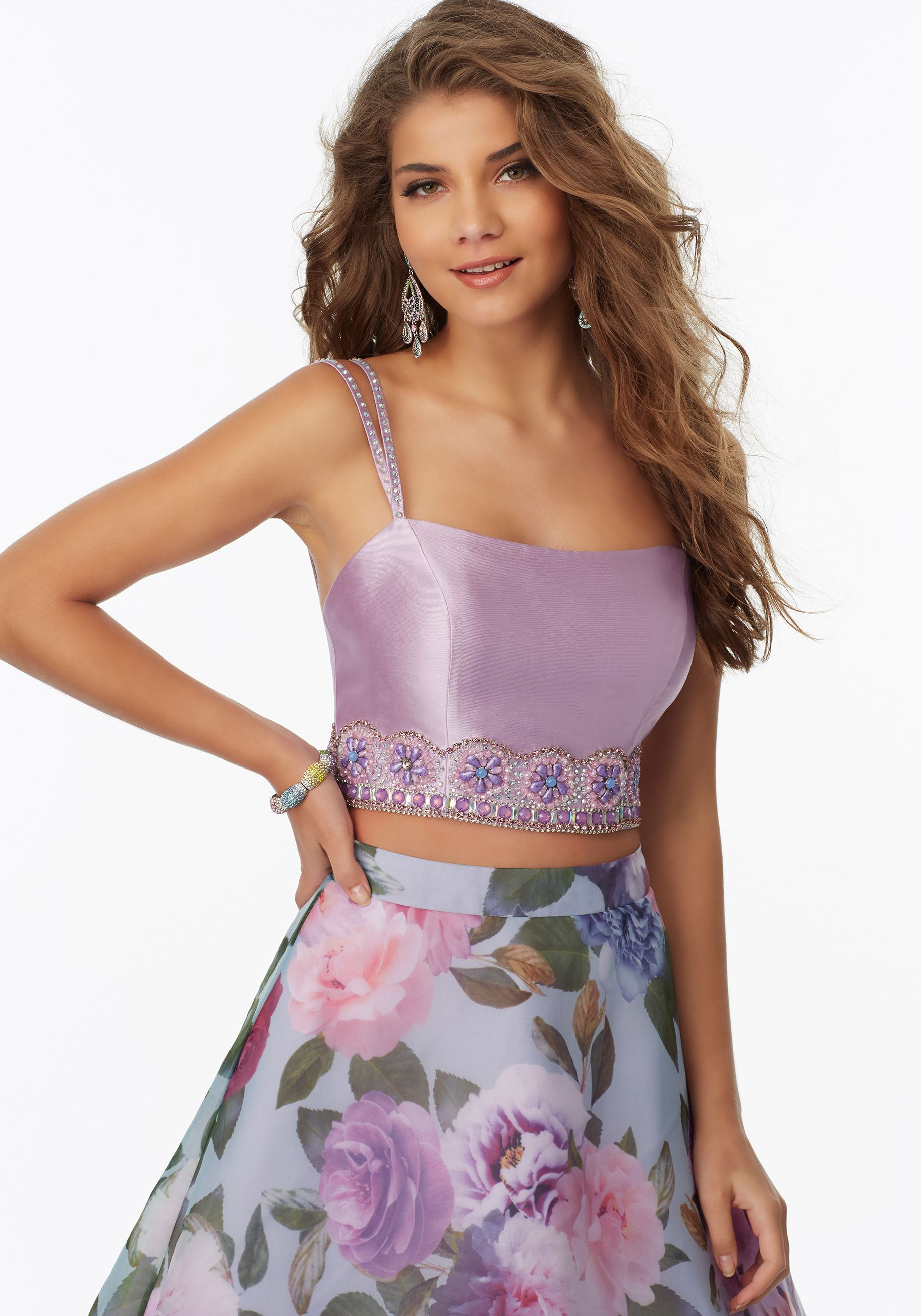 47c9865e72 Prom Dresses by Morilee designed by Madeline Gardner. Two-Piece Prom Dress  with Floral Printed Organza Skirt and Beaded Larissa Satin Top.