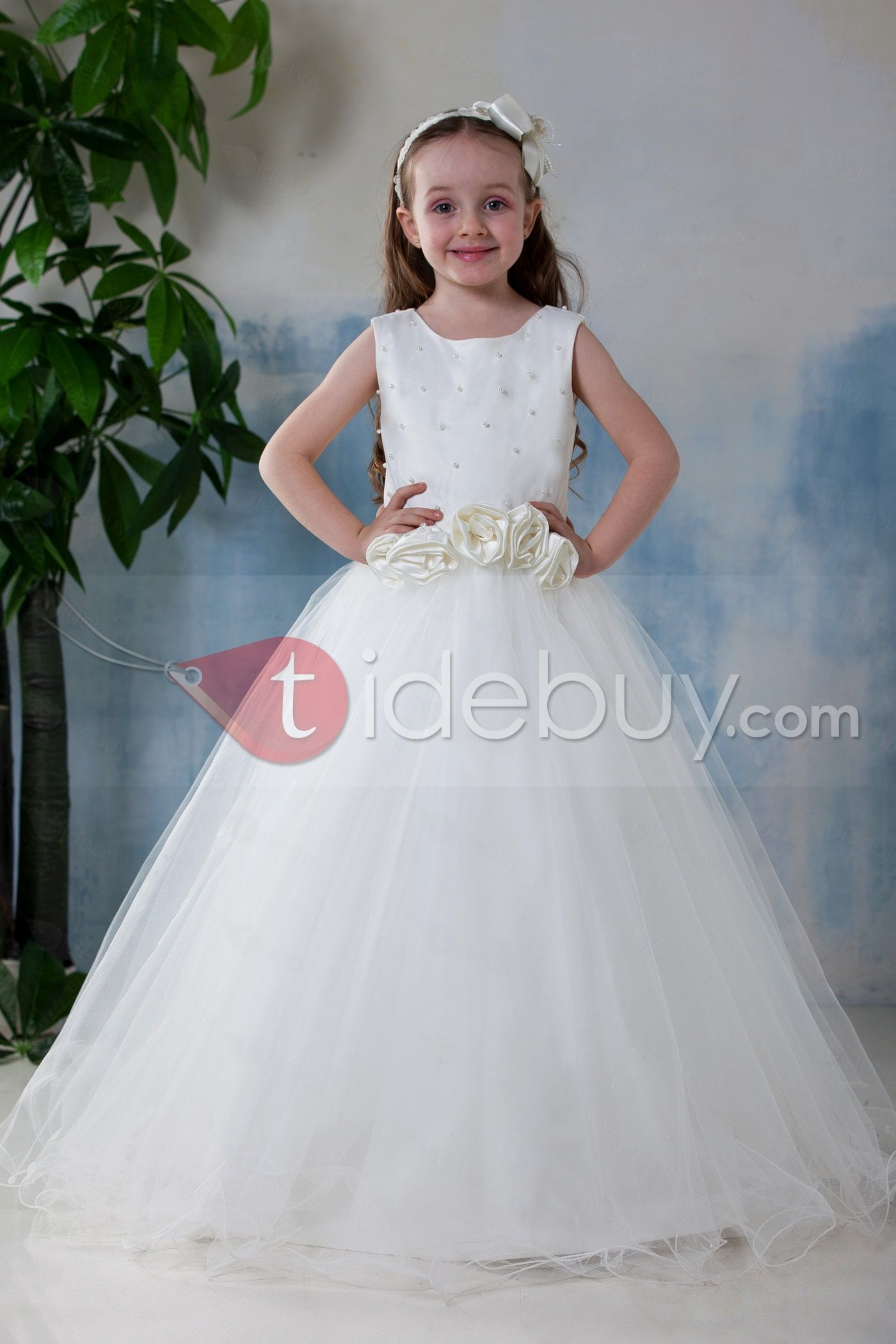 Girls wedding dress  Simple Style ALine Scoop Flower Girl Dress  Flower girl dresses