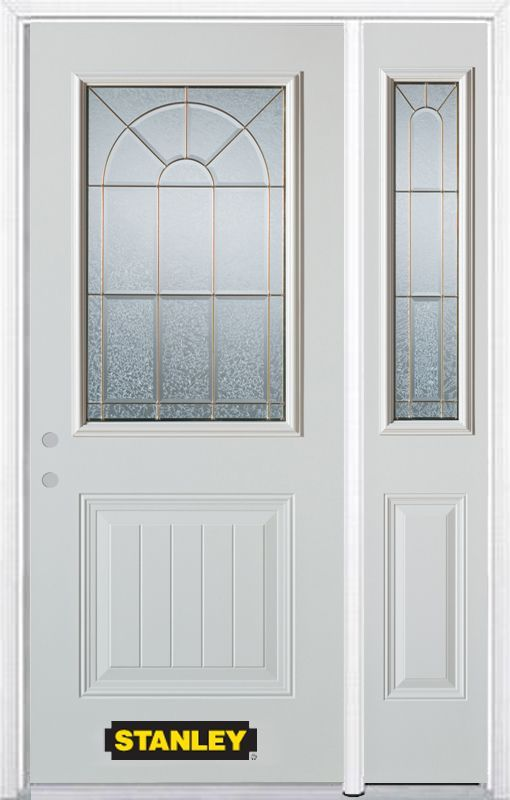 52 75 Inch X 82 375 Inch Elisabeth Brass 1 2 Lite 1 Panel Prefinished White Right Hand Inswing Steel Prehung Front Door With Sidelite And Brickmould Energy Star Entry Doors Doors Gallery Wall