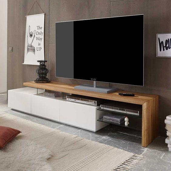 TV Lowboard in Weiß mit Eiche Massivholz Jetzt bestellen unter ...