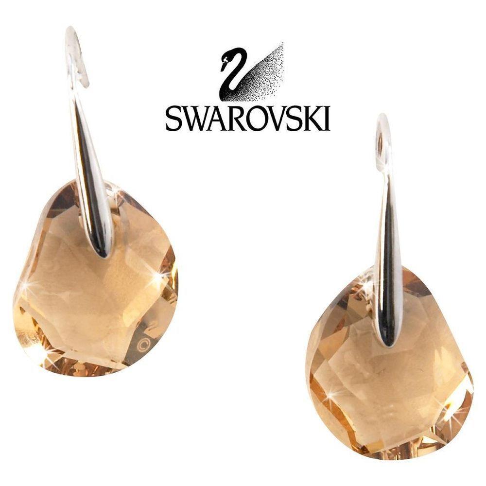 9d815e18e Swarovski Amber Crystal JEWELRY Pierced Earrings GALET Light Topaz #5023082  New
