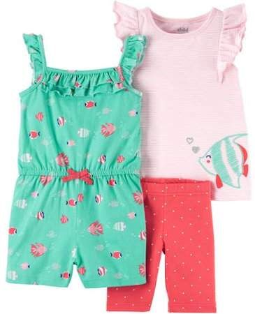 57ce4ff511 Carter's Child of Mine by Child of Mine By Toddler Girl Tank, Shorts, and  Romper 3 Piece Set