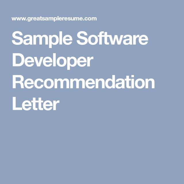 software developer recommendation letter - Akba.greenw.co