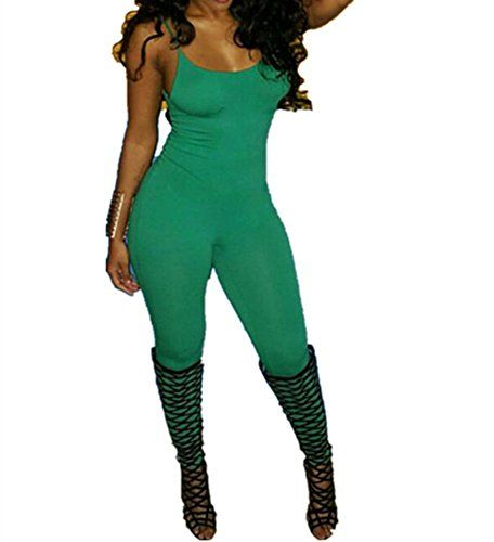 b5205143ef33 Xuan2Xuan3 Women Spaghetti Strap Bodycon Tank One Piece Jumpsuits Rompers  PlaysuitDark GreenSmall    Click on the image for additional details.