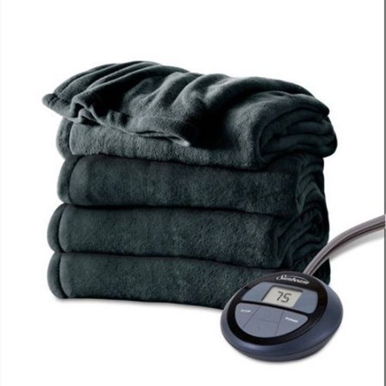 Sunbeam Electric Heated Full Blanket Heritage Blue Channeled
