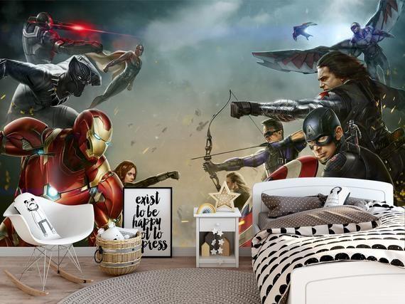 Marvel Comics Wall Mural Iron Man Endgame Wall Art Avengers Etsy In 2021 Wall Murals Avengers Wallpaper Mural