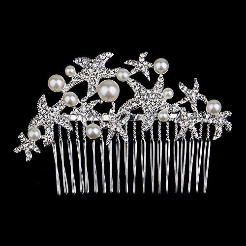 Sunshiny Bridal Star Fish Design Pearl Crystal Rhinestone Hair Comb Headpieces Hair Accessories >>> For more information, visit image link. #hairdesign