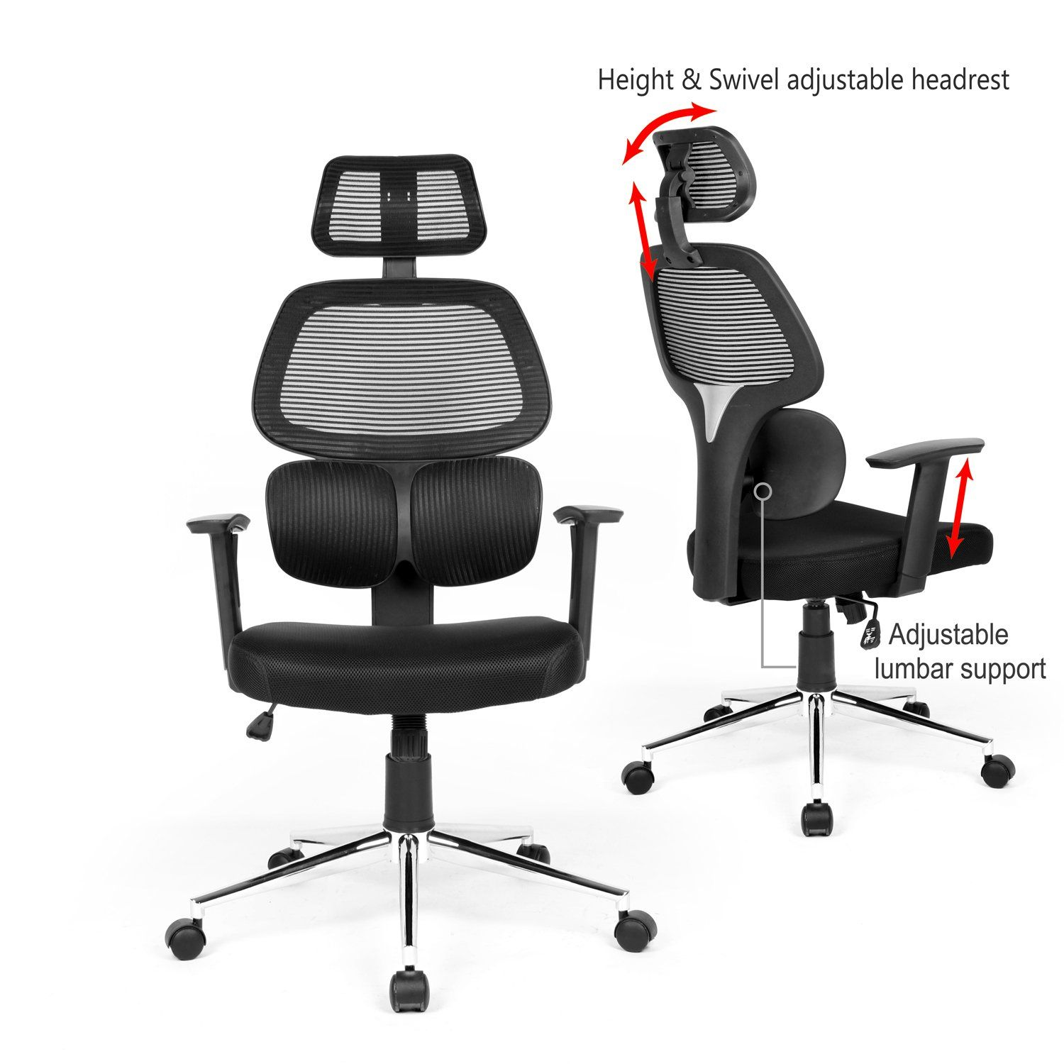 Ergonomic Mesh Office Chair High Back Swiver Computer Desk Task Chairs With Adjustable Lumbar Support Backre Office Chair Mesh Office Chair Black Office Chair