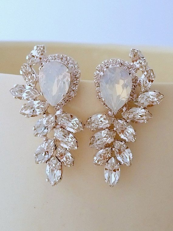 Bridal Earrings Opal White Crystal Statement Stud Extra Large Cer Swarovski Silver Or Gold