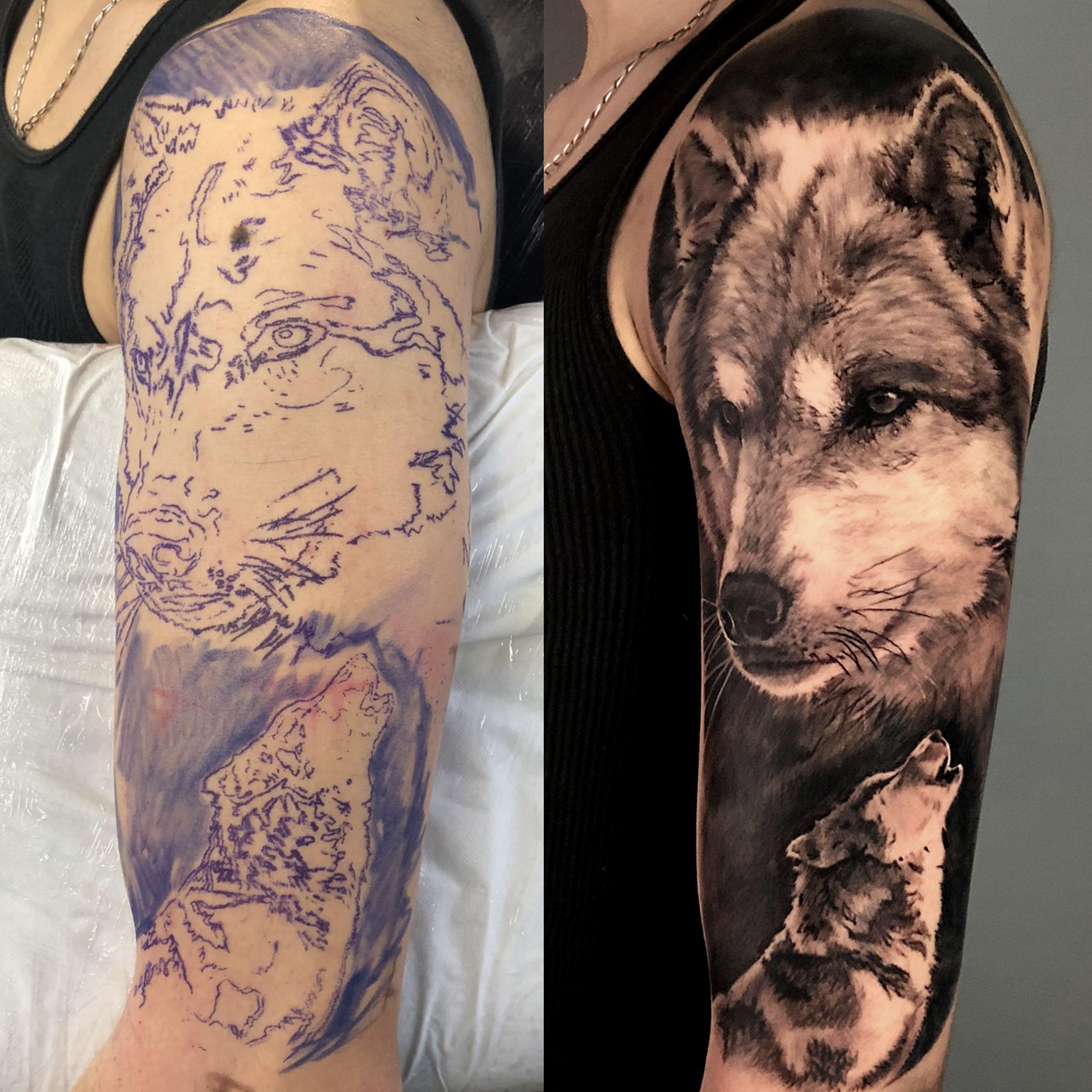 Wolves Sleeve Stencil In 2020 Sleeve Tattoos Mens Full Sleeve Tattoo Wolf Sleeve