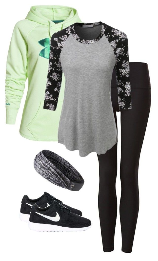 """Workout time"" by abbeybonino ❤ liked on Polyvore featuring Under Armour, LE3NO, lululemon and NIKE"