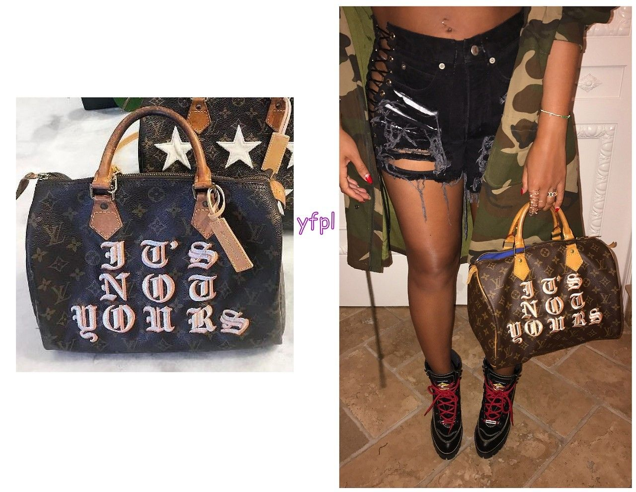 Beyoncé holding LOUIS VUITTON Speedy 30 Bag Customized by MEDIUMRARE PRODUCT
