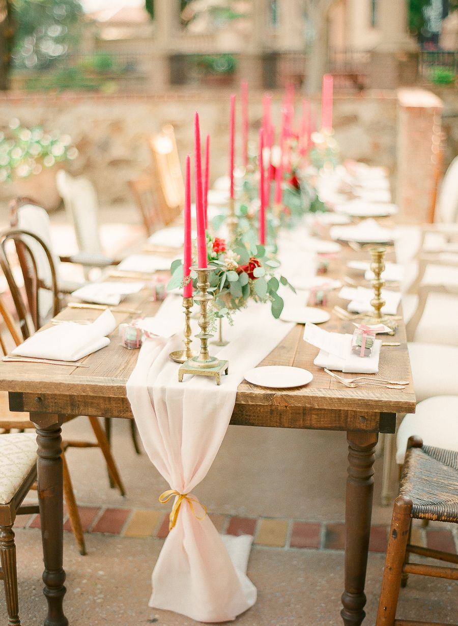 Wedding decor fall  Romantic Fuchsia Red and Gold Fall Wedding at Bella Collina