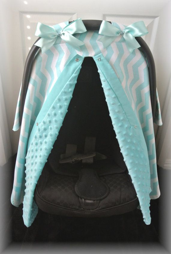 MINKY Carseat Canopy Car Seat Cover Light Blue By JaydenandOlivia 5599