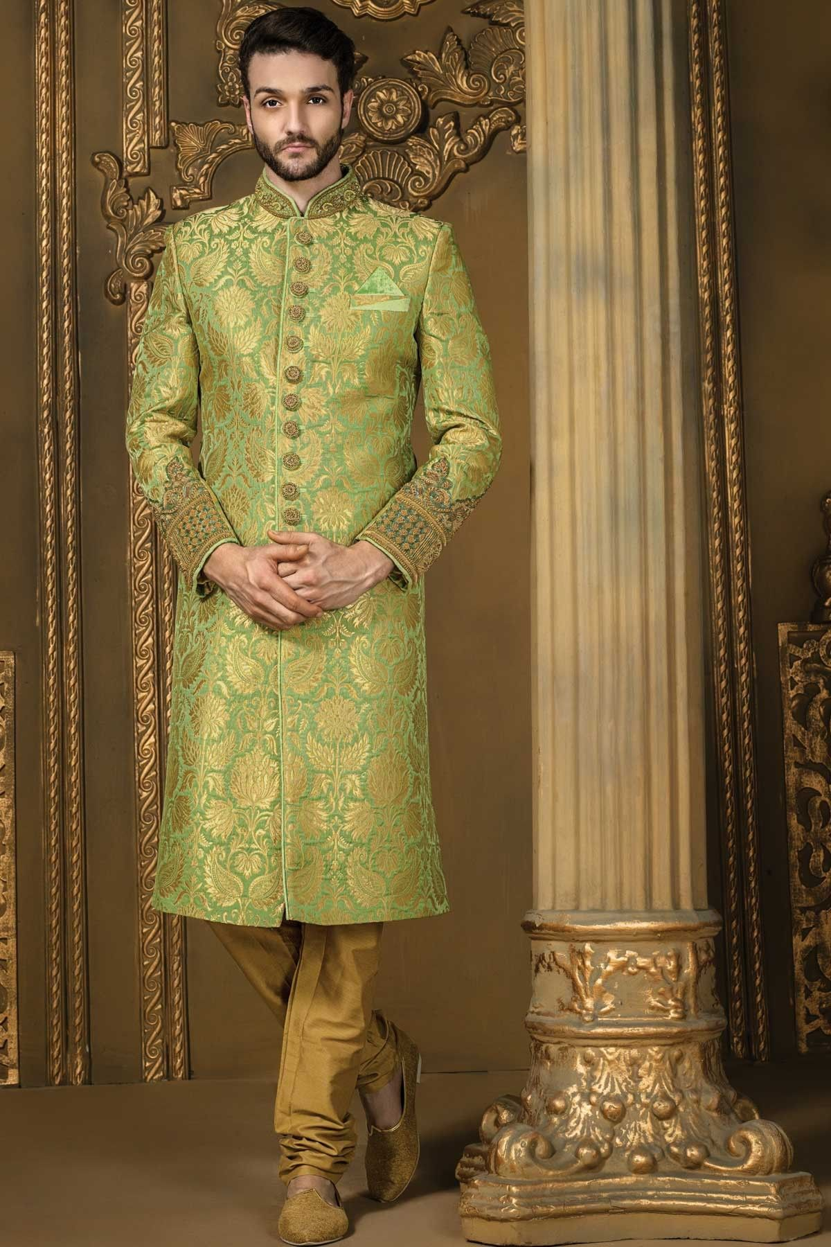 Pistachio green and gold khinkwab comely bandh gala
