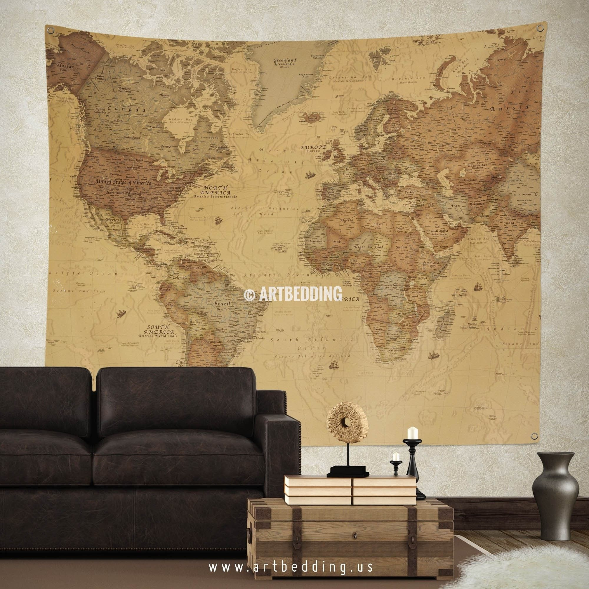 Vintage World Map Wall Tapestry, Vintage Interior World Map Wall
