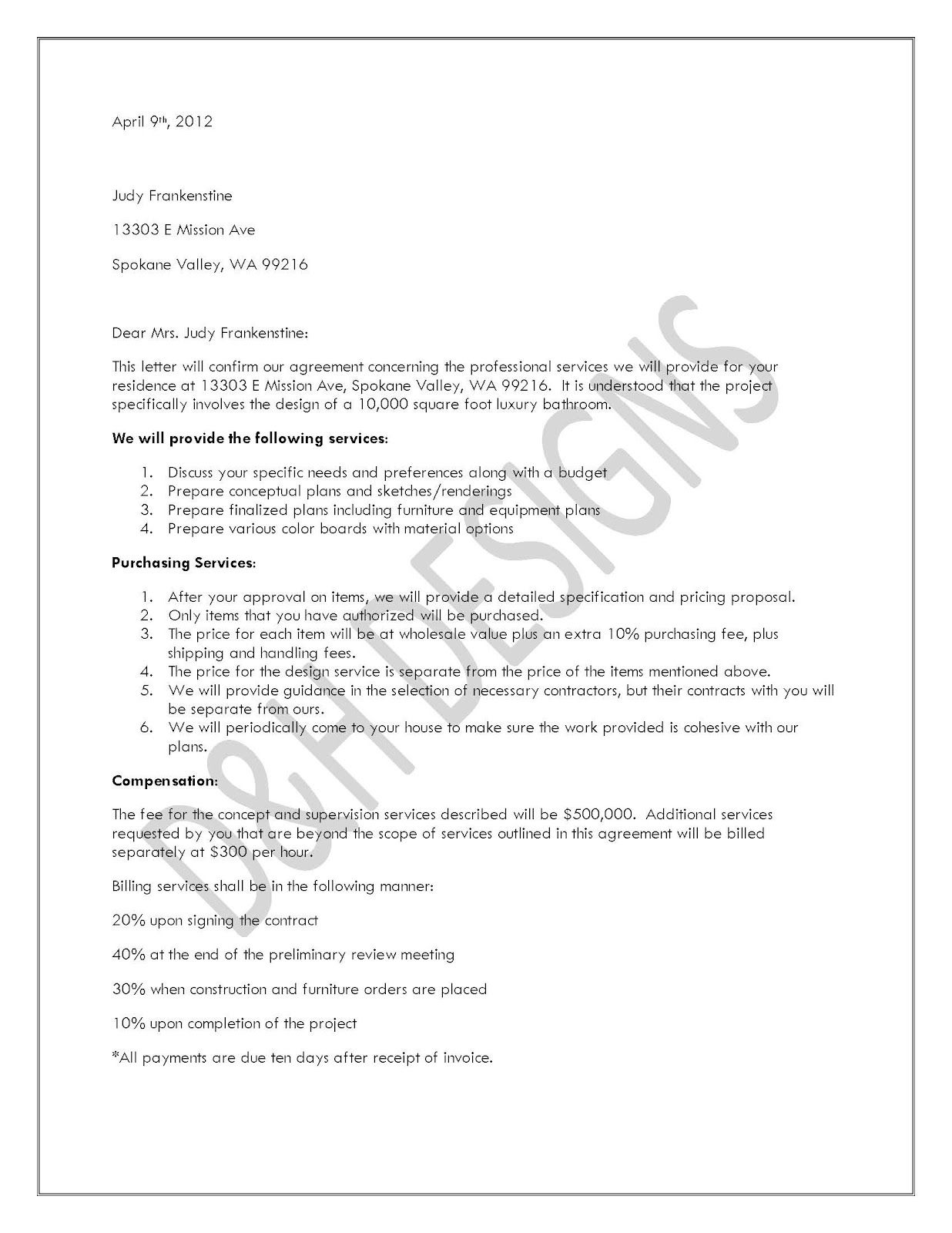printable sample letter of agreement form