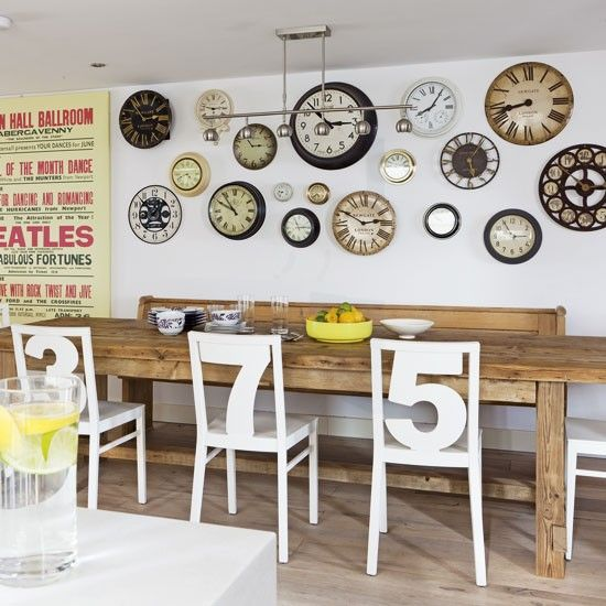 love the numbered chairs and all the clocks on the wall  for the