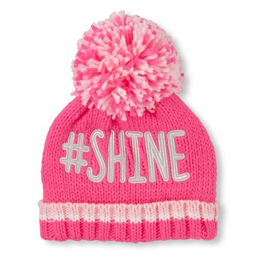 d6c24c83c6c Girls Iridescent   Shine  Pom Pom Beanie - Pink Hat - The Children s Place
