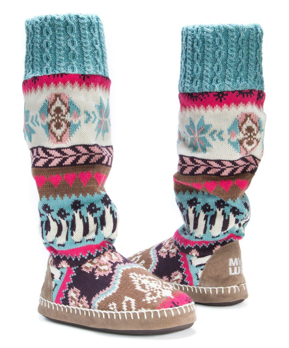 Teal & Cream Angie Slipper Boot - Women by MUK