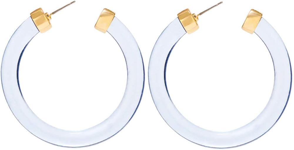 Amazon Com Legitta Leia Resin Hoop Earrings Transparent White Acrylic Round Circle Dangle Ear Drops Fa Statement Drop Earrings Statement Jewelry Ashes Jewelry