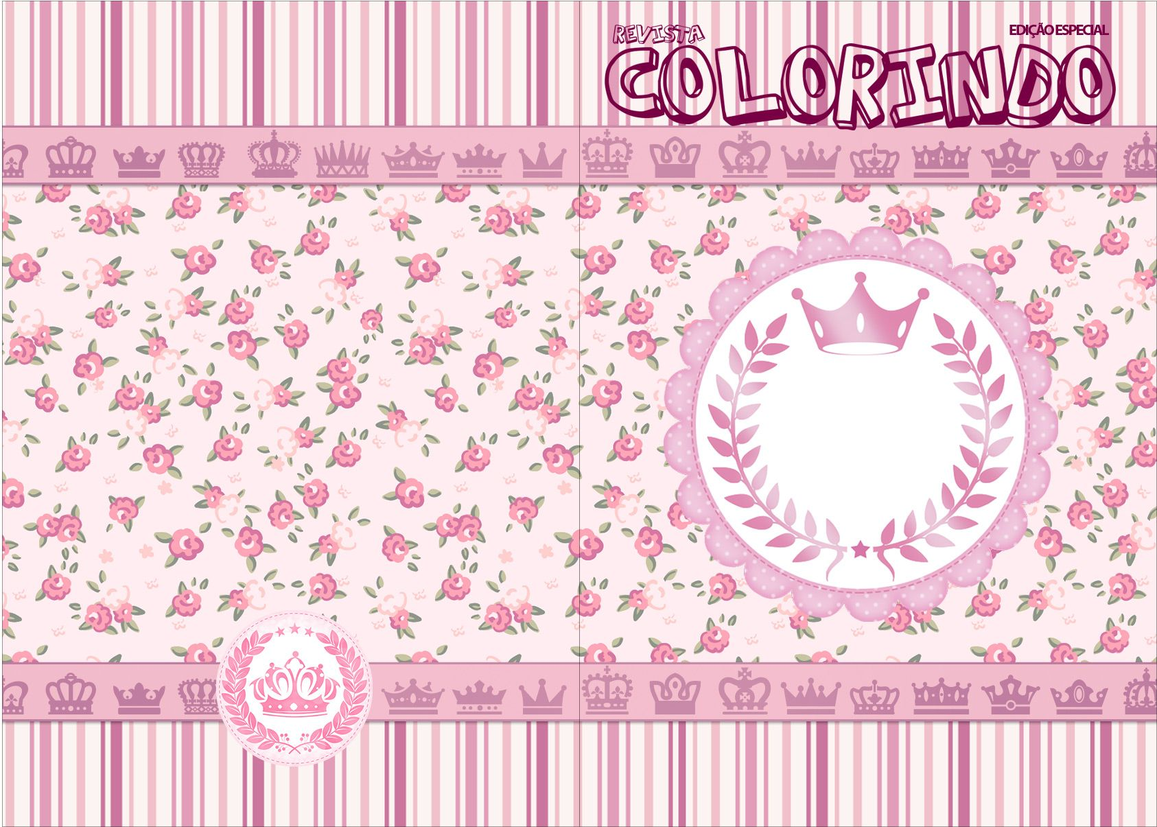 Coroa De Princesa Desenho: Revista Colorindo Coroa De Princesa Rosa Floral