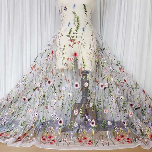 1c6db322ec5 Одежда Швейные и Ткань чистая Пряжа 3D Вышивка шифоновым цветком Кружево  Ткань сетки Материал DIY платье
