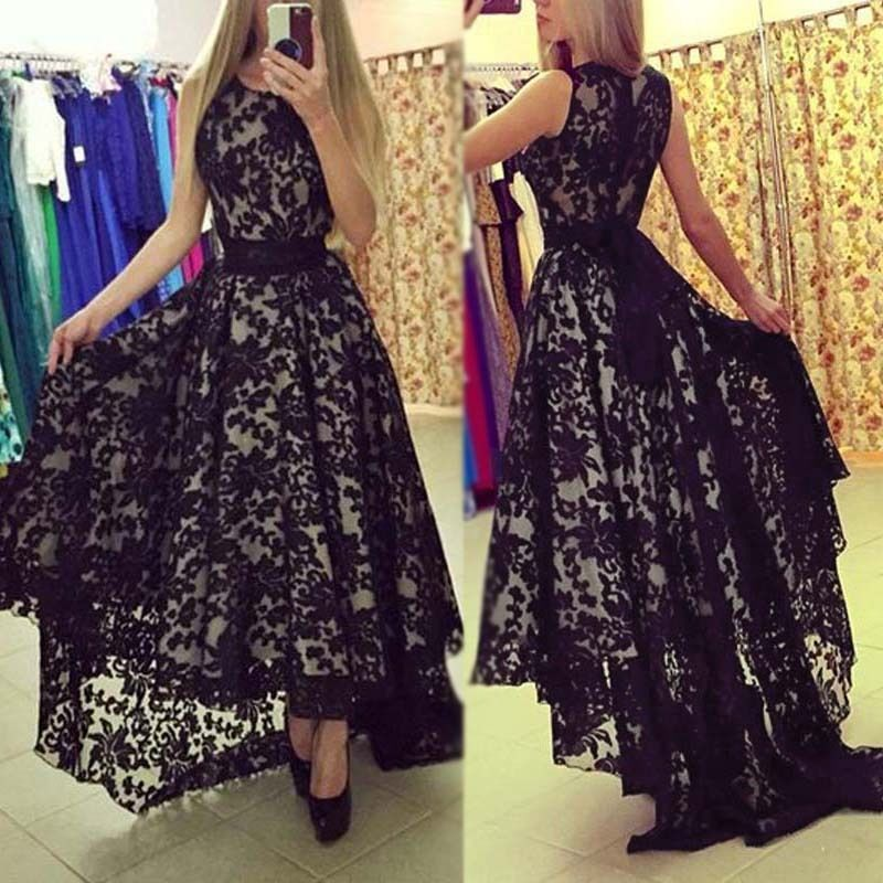 Ladies Lace Long Maxi Evening Formal Party Cocktail Dress ...