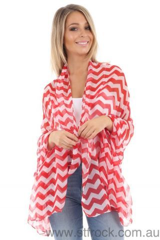 Chevron Scarf in Red - stfrock.com