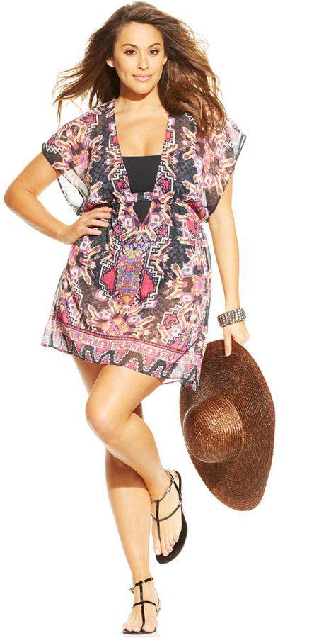 5d129a3358 Plus Size Cover-Up Tunic | Plus Size Fashion | Plus size summer ...