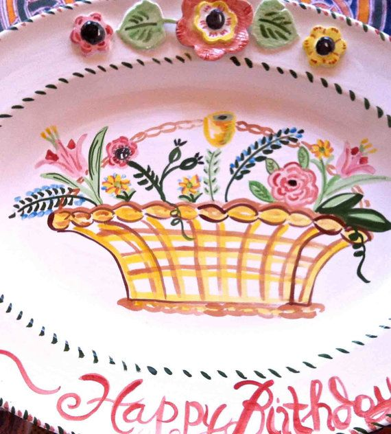 Gift for Her Birthday Platter Ceramic Hand Painted Oval Platter Happy Birthday Plate Basket of Flowers