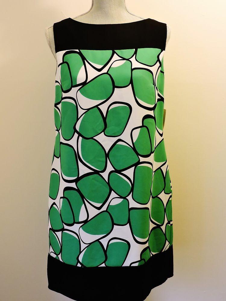 Dressbarn Dress NWT Green White Black Sz 10 Knee Length Career Wear to Work New #Dressbarn #Sheath #WeartoWork