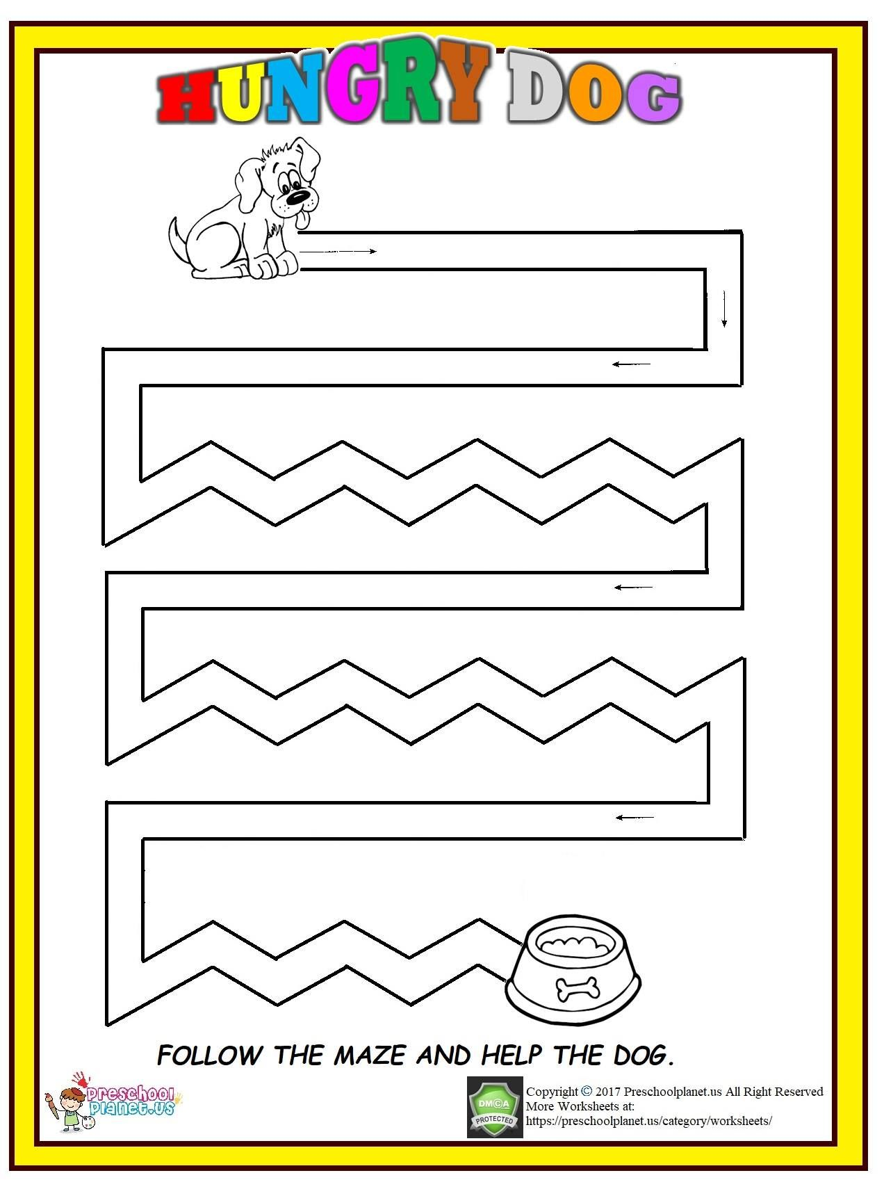 Dog Maze Worksheet For Kids