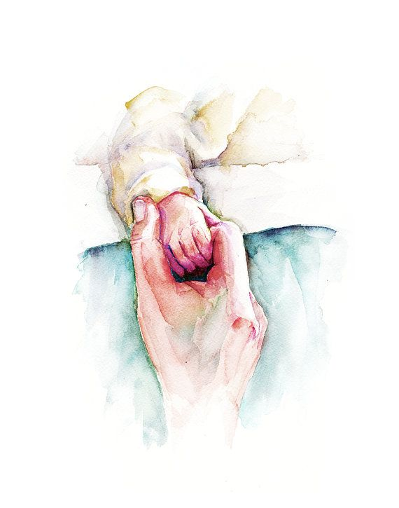 Mother And Baby Holding Hands Watercolor Print Mom And Baby