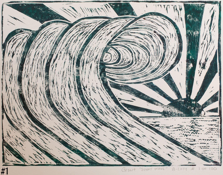 Limited Edition Linoleum Block Print Sunny Wave by GrantFrakersArt