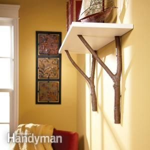 How to Make a Cottage Shelf with Branches.  Instead of branches antlers, hmmmm......