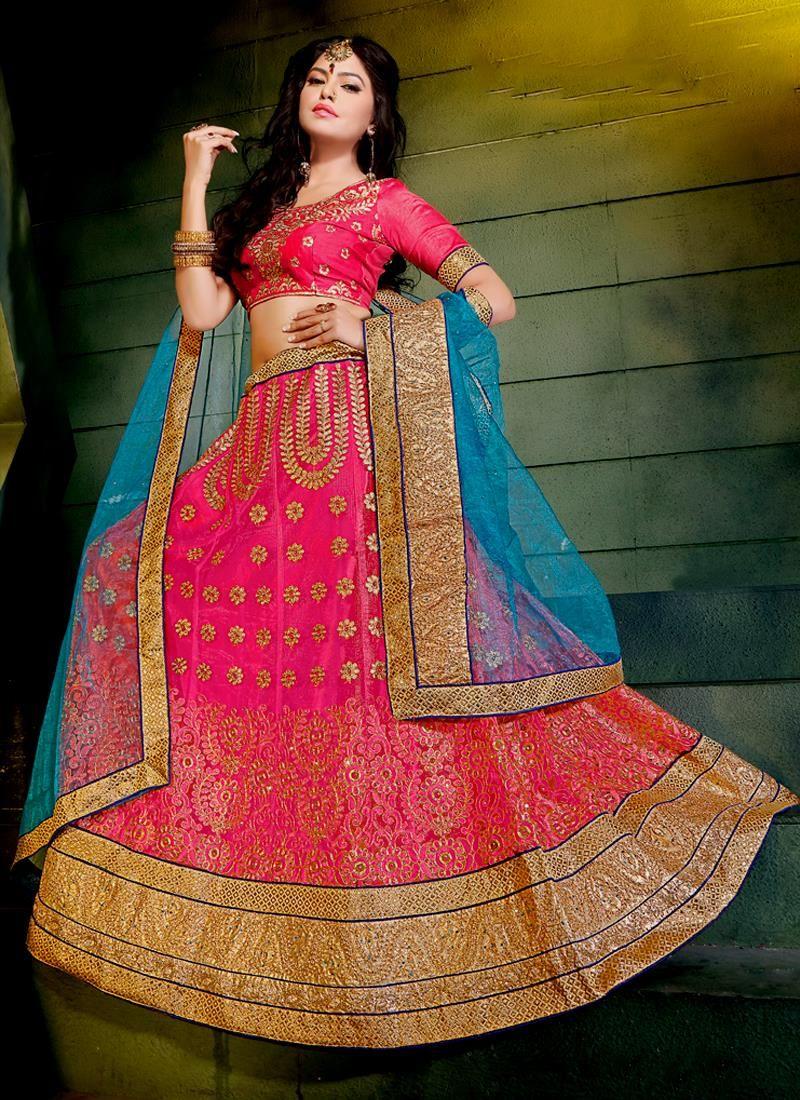 Splendid Net Hot Pink A Line Lehenga Choli