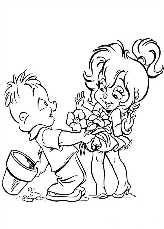 kleurplaat Alvin en de Chipmunks - Theodore geeft bos bloemen ...