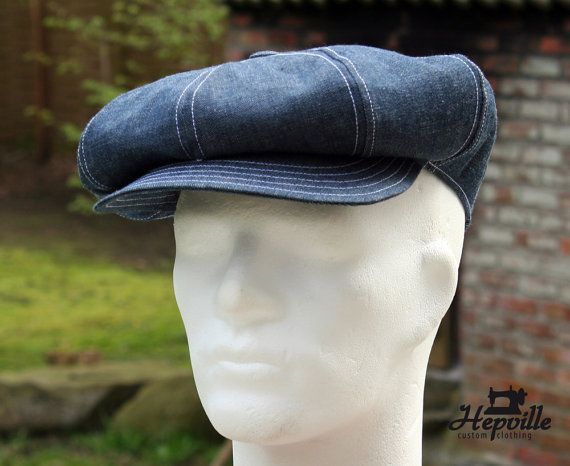 bd4ca6a1 Handcrafted with artisan spirit: Classic shaped Newsboy Cap with hand sewn leather  sweatband. 8 oz selvedge denim, herringbone chambray lining. The