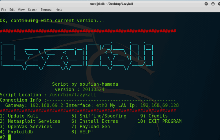 LazyKali is an awesome script written in bash shell  It can