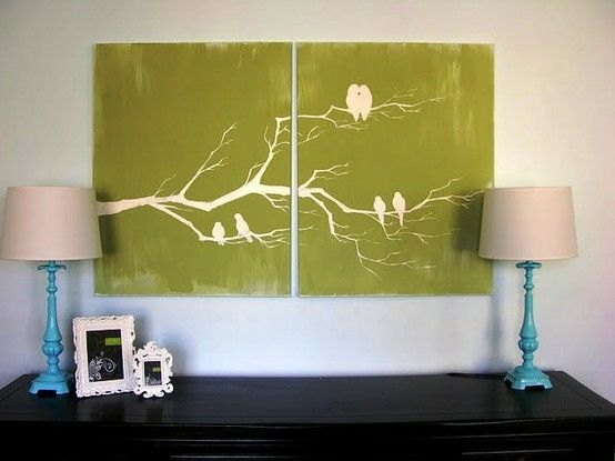 Painting of birds sitting on a branch wonderful walldesigns or 25 creative and easy diy canvas wall art ideas an artist yourself and make beautiful art for your home you dont have to pay a lot of money on art solutioingenieria Gallery