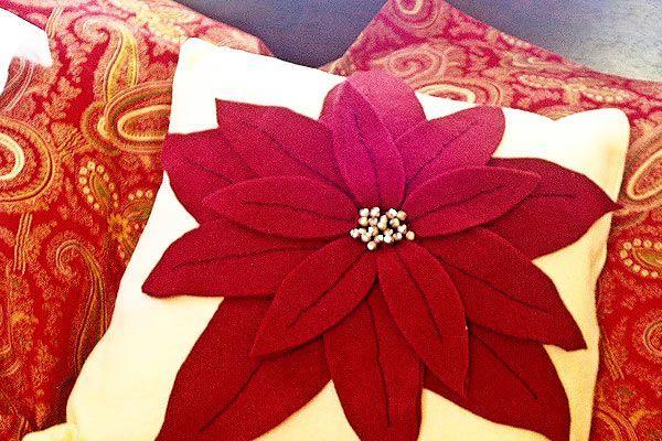 Cómo hacer Pottery Barn Knock-Off de Navidad del Poinsettia Almohadas: