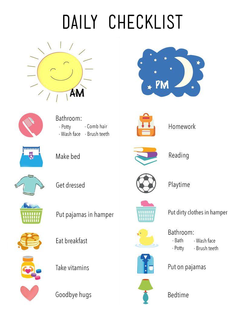 Printable Daily Routine Checklist Kids