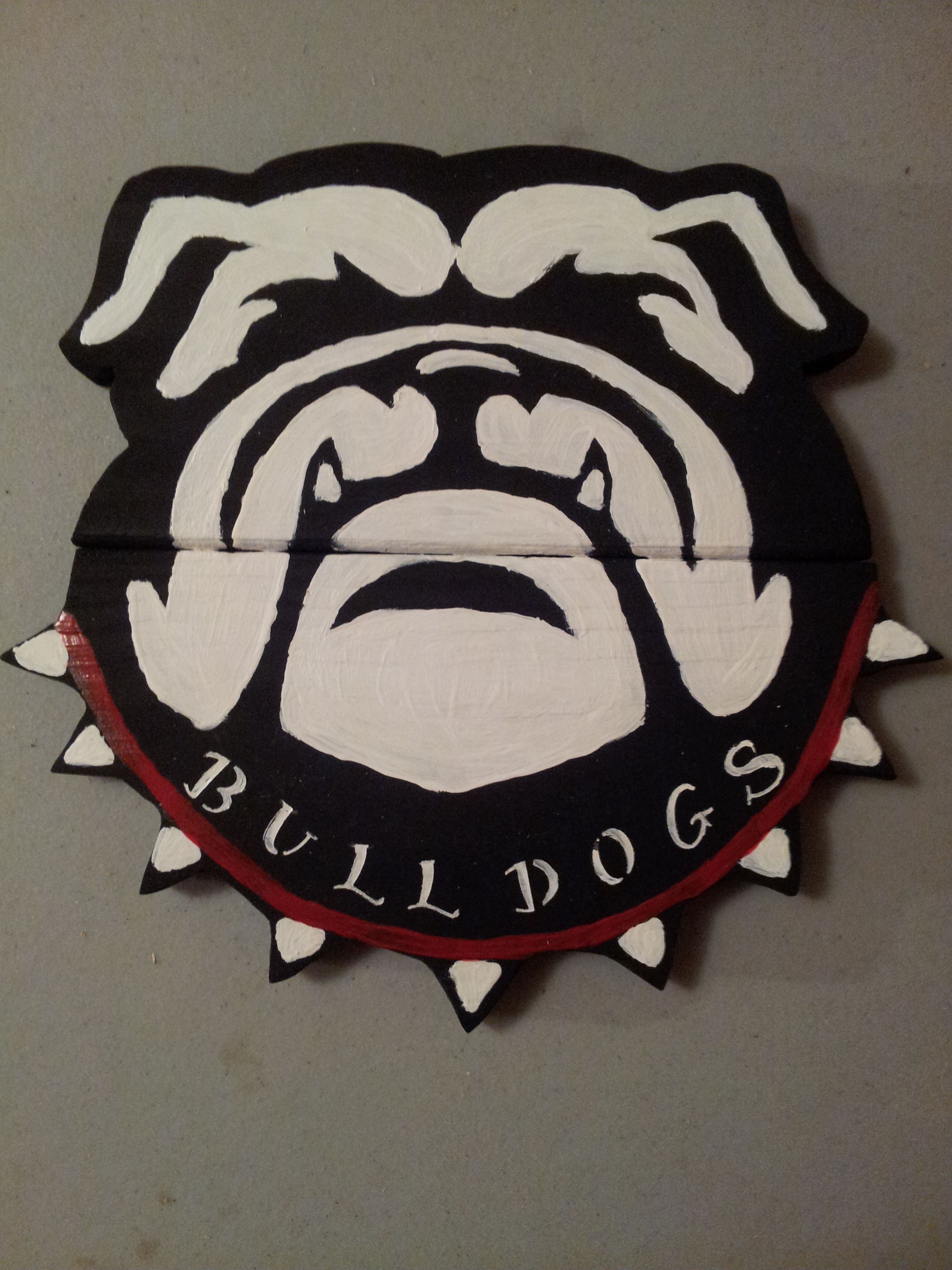 georgia bulldog reclaimed wooden sign black white and red paint