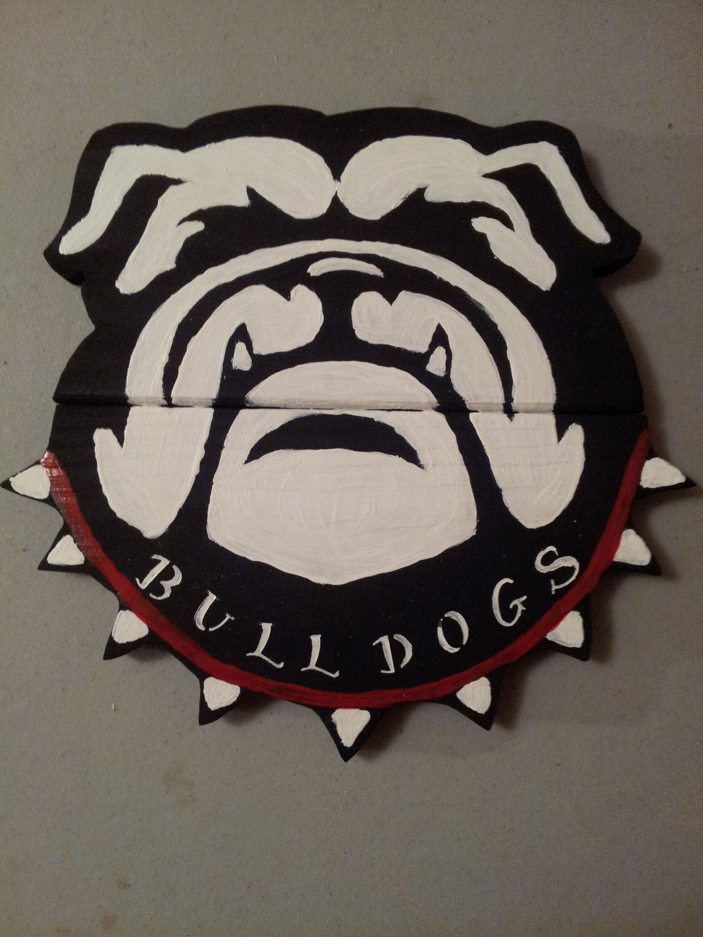 Georgia Bulldog Reclaimed Wooden Sign Black White And