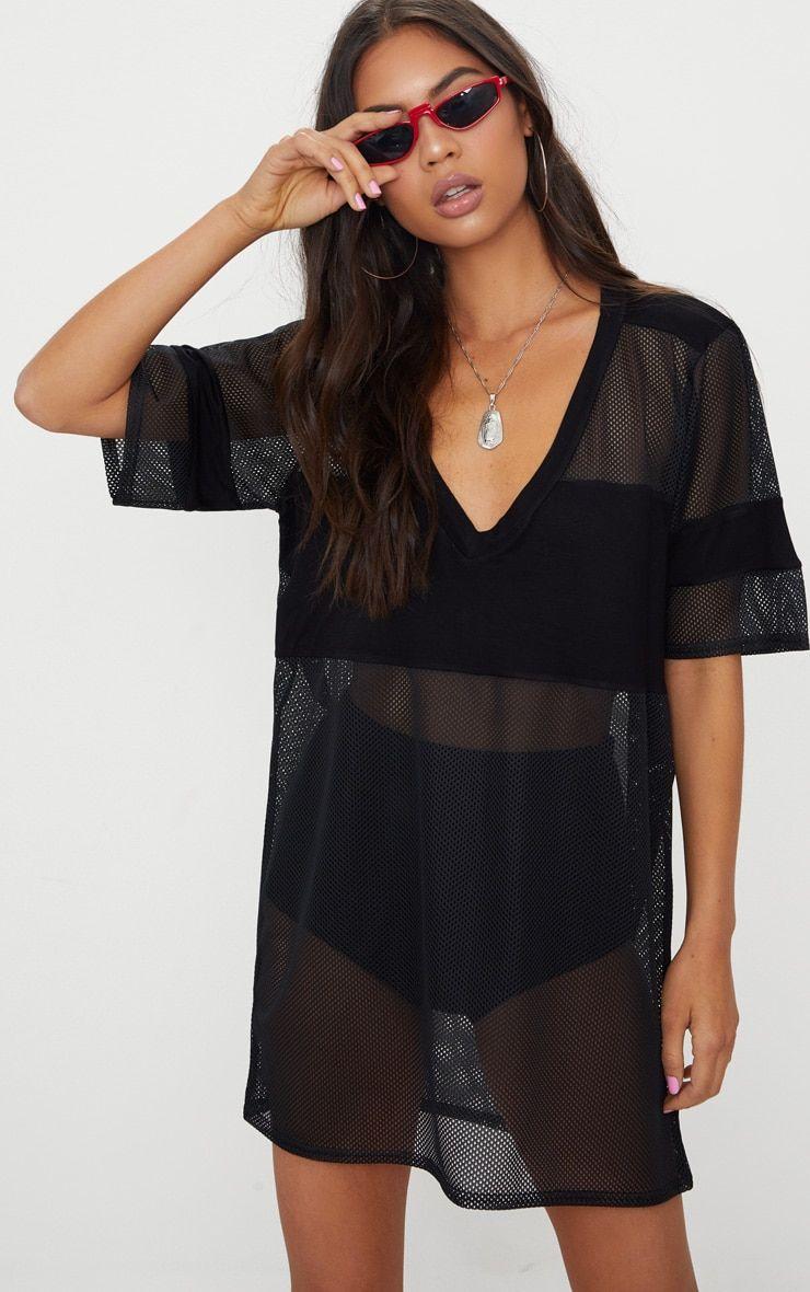 Robe T-shirt en résille Airtex noire