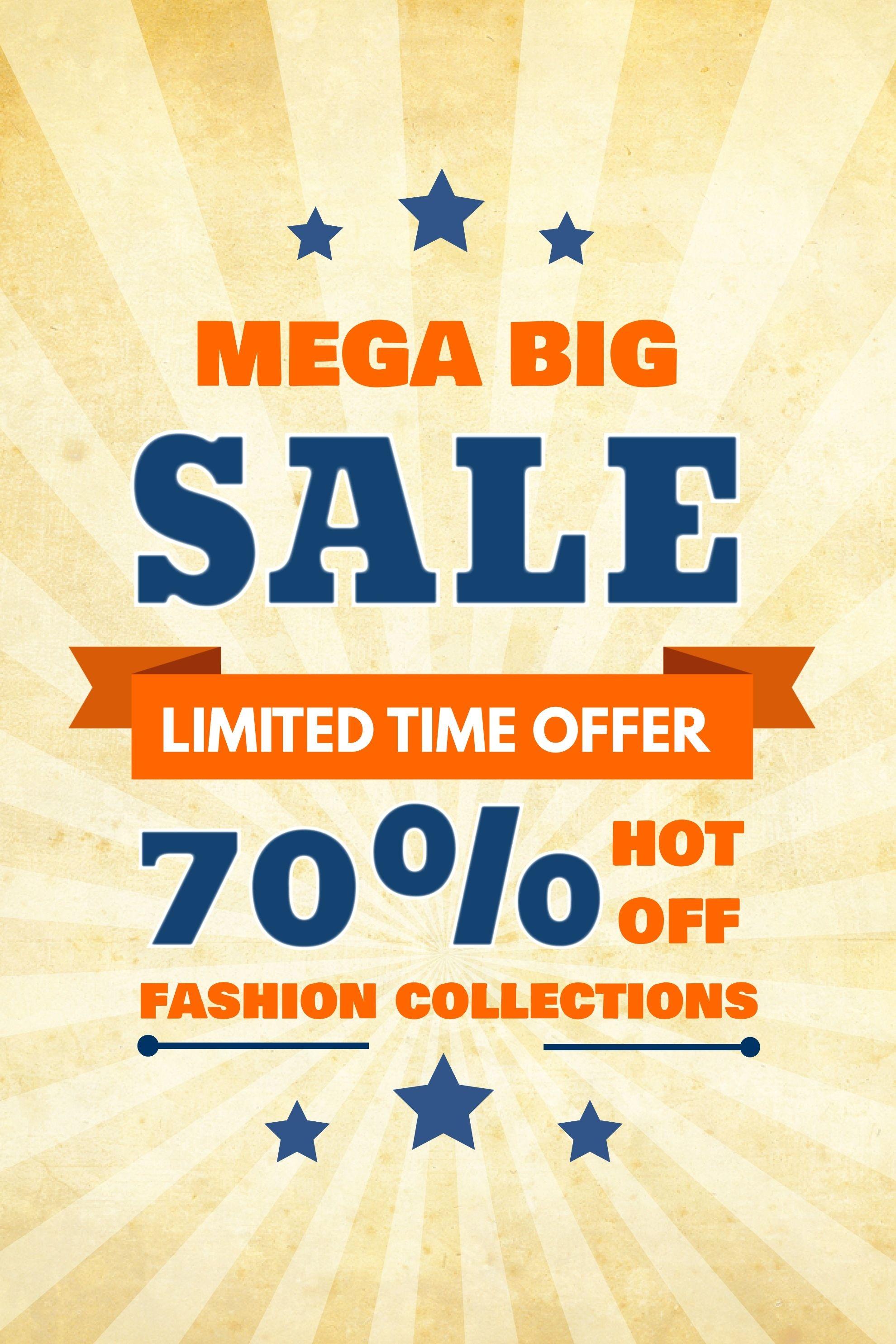 Mega Big Sale Poster Flyer Social Media Graphic Design Template