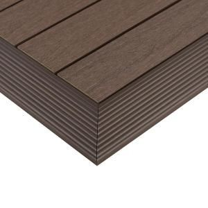 NewTechWood 1/6 ft. x 1 ft. Quick Deck Composite Deck Tile Outside Corner Trim in Spanish Wal... NewTechWood 1/6 ft. x 1 ft. Quick Deck Composite Deck Tile Outside Corner Trim in Spanish Walnut (2-Pieces/Box),