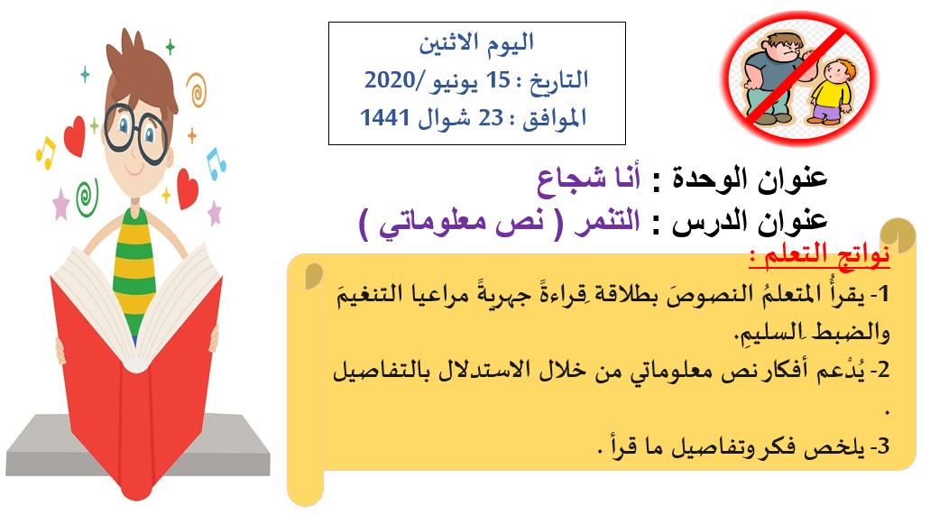 اللغة العربية بوروبينت درس التنمر للصف الرابع 15th