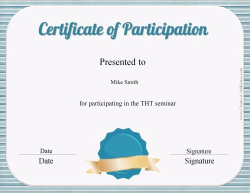 Certificate Of Participation Template  Ville